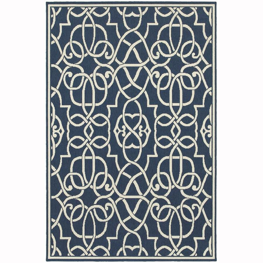 Archer Lane Darby Navy Rectangular Indoor/Outdoor Machine-Made Area Rug (Common: 7 x 10; Actual: 6.58-ft W x 9.5-ft L)