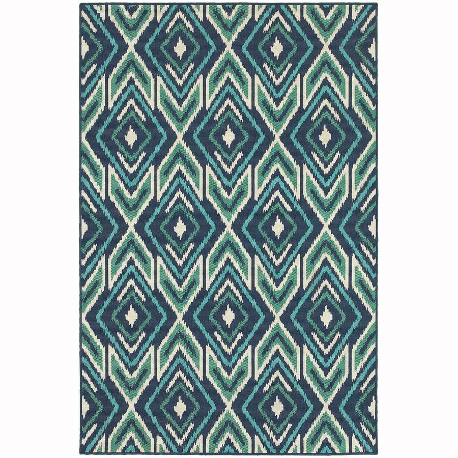 Archer Lane Farming Navy Rectangular Indoor/Outdoor Machine-Made Area Rug (Common: 4 x 6; Actual: 3.58-ft W x 5.5-ft L)