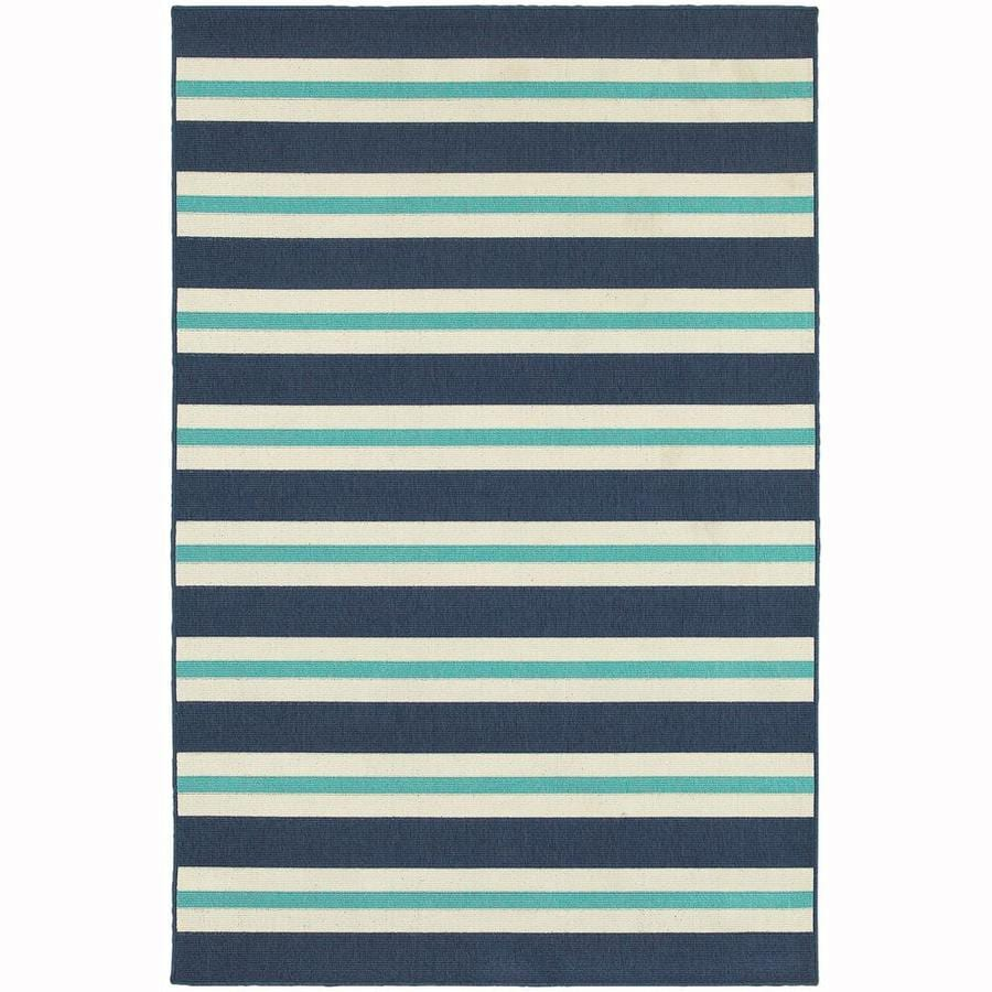 Archer Lane Garlington Blue Rectangular Indoor/Outdoor Machine-Made Area Rug (Common: 4 x 6; Actual: 3.58-ft W x 5.5-ft L)