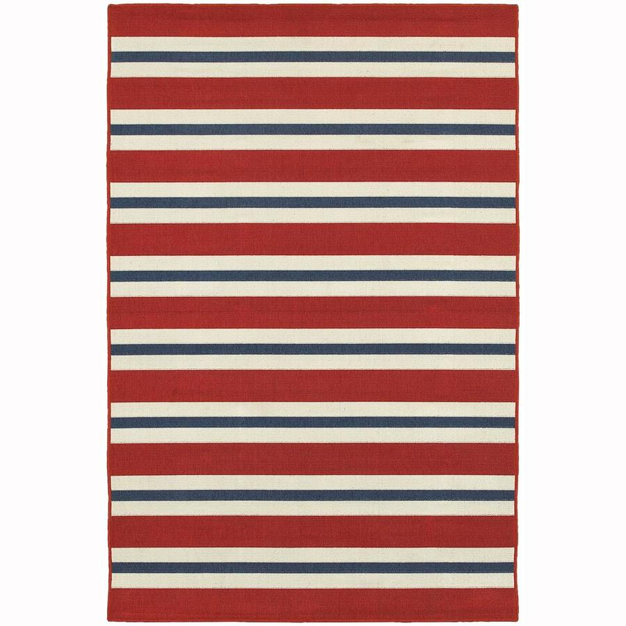 Archer Lane Garlington Red Rectangular Indoor/Outdoor Machine-Made Area Rug (Common: 6 x 9; Actual: 6.58-ft W x 9.5-ft L)