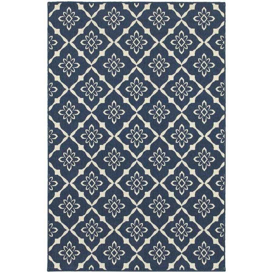 Archer Lane Halifax Navy Rectangular Indoor/Outdoor Machine-Made Area Rug (Common: 7 x 10; Actual: 6.58-ft W x 9.5-ft L)
