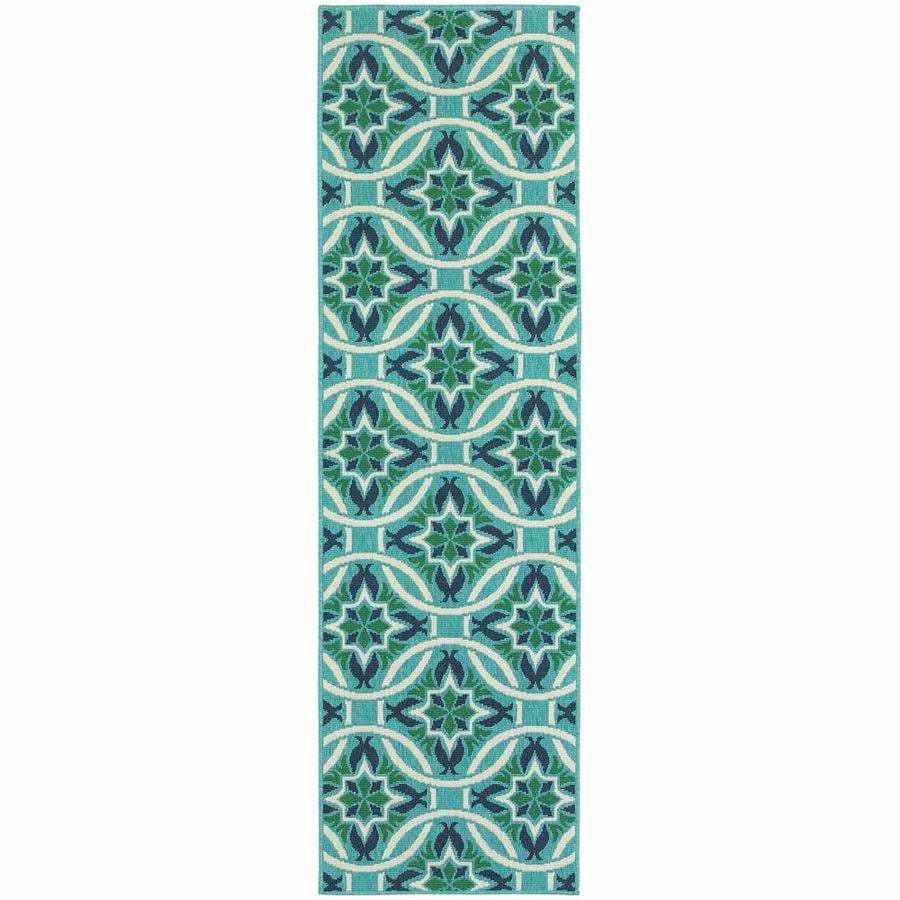 Archer Lane Infanta Blue Rectangular Indoor/Outdoor Machine-Made Runner (Common: 2 x 8; Actual: 2.25-ft W x 7.5-ft L)