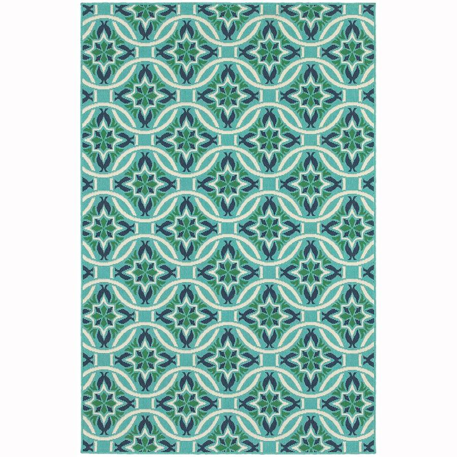 Archer Lane Infanta Blue Rectangular Indoor/Outdoor Machine-Made Area Rug (Common: 7 x 10; Actual: 6.58-ft W x 9.5-ft L)