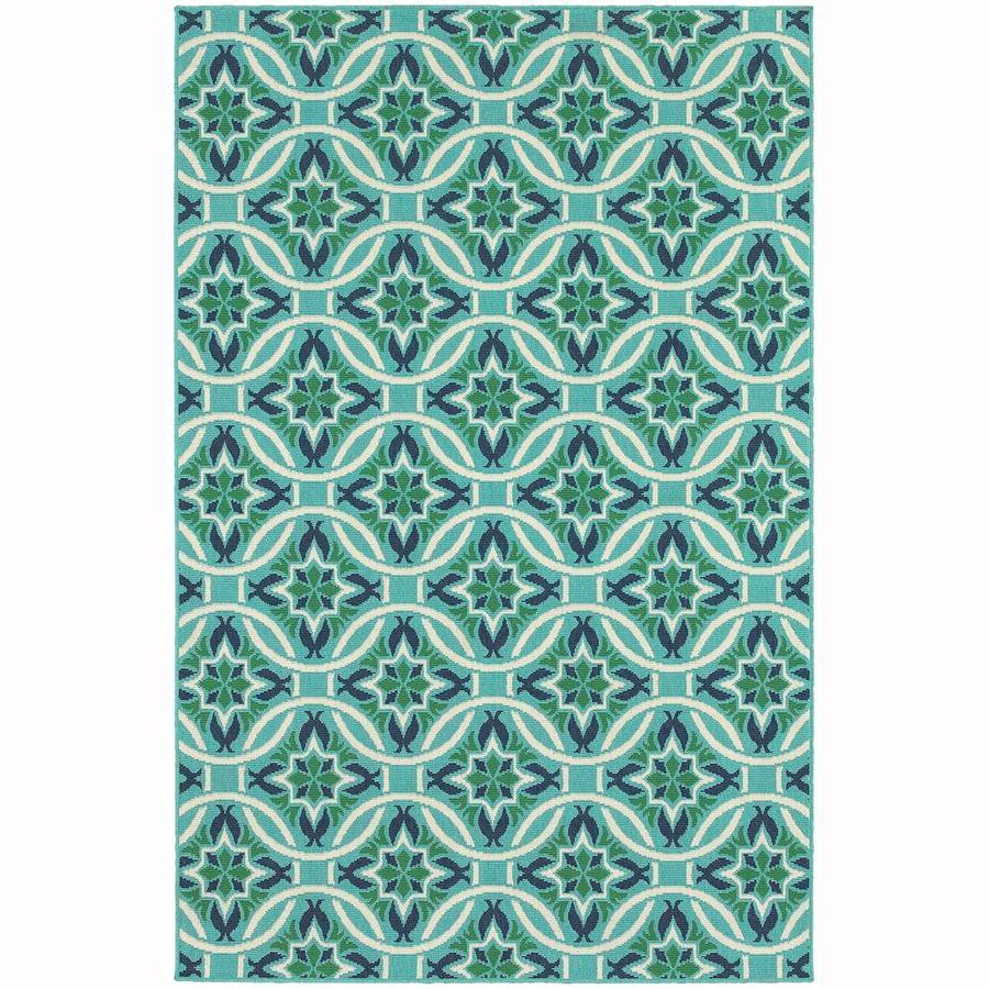 Archer Lane Infanta Blue Indoor/Outdoor Area Rug (Common: 8 x 11; Actual: 7.83-ft W x 10.83-ft L)