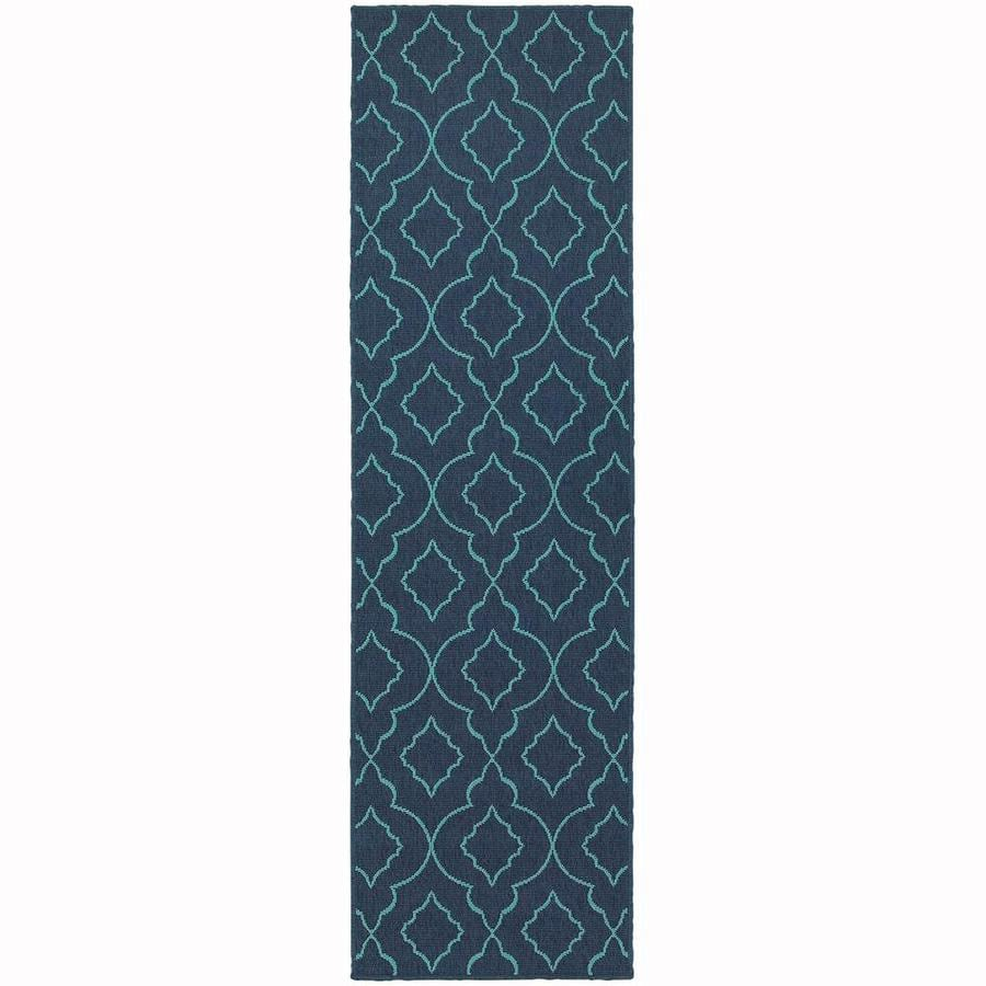 Archer Lane Jeanwood Navy Indoor/Outdoor Runner (Common: 2 x 8; Actual: 2.25-ft W x 7.5-ft L)