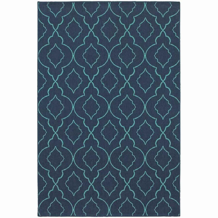 Archer Lane Jeanwood Navy Rectangular Indoor/Outdoor Machine-Made Area Rug (Common: 5 x 8; Actual: 5.25-ft W x 7.5-ft L)