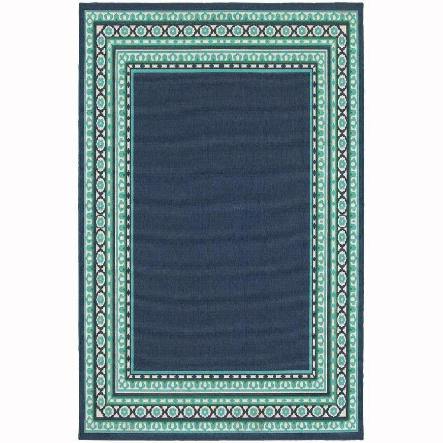 Archer Lane Keating Navy Rectangular Indoor/Outdoor Machine-Made Area Rug (Common: 4 X 6; Actual: 3.58-ft W x 5.5-ft L)