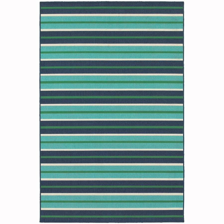 Archer Lane Lakeport Blue Rectangular Indoor/Outdoor Machine-Made Area Rug (Common: 5 x 8; Actual: 5.25-ft W x 7.5-ft L)