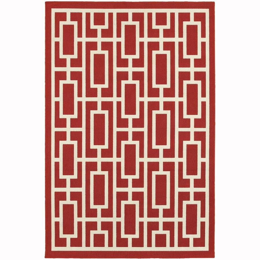 Archer Lane Napa Red Rectangular Indoor/Outdoor Machine-Made Area Rug (Common: 4 x 6; Actual: 3.58-ft W x 5.5-ft L)