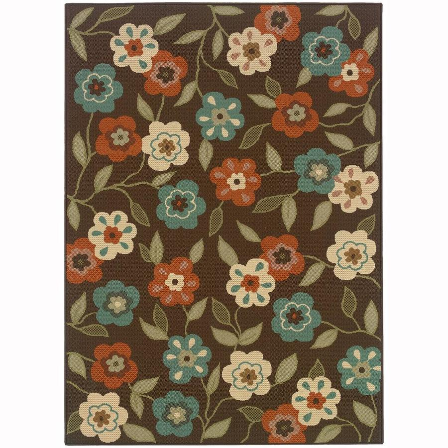 Archer Lane Ballad Brown Rectangular Indoor/Outdoor Machine-Made Area Rug (Common: 7 X 10; Actual: 6.58-ft W x 9.5-ft L)
