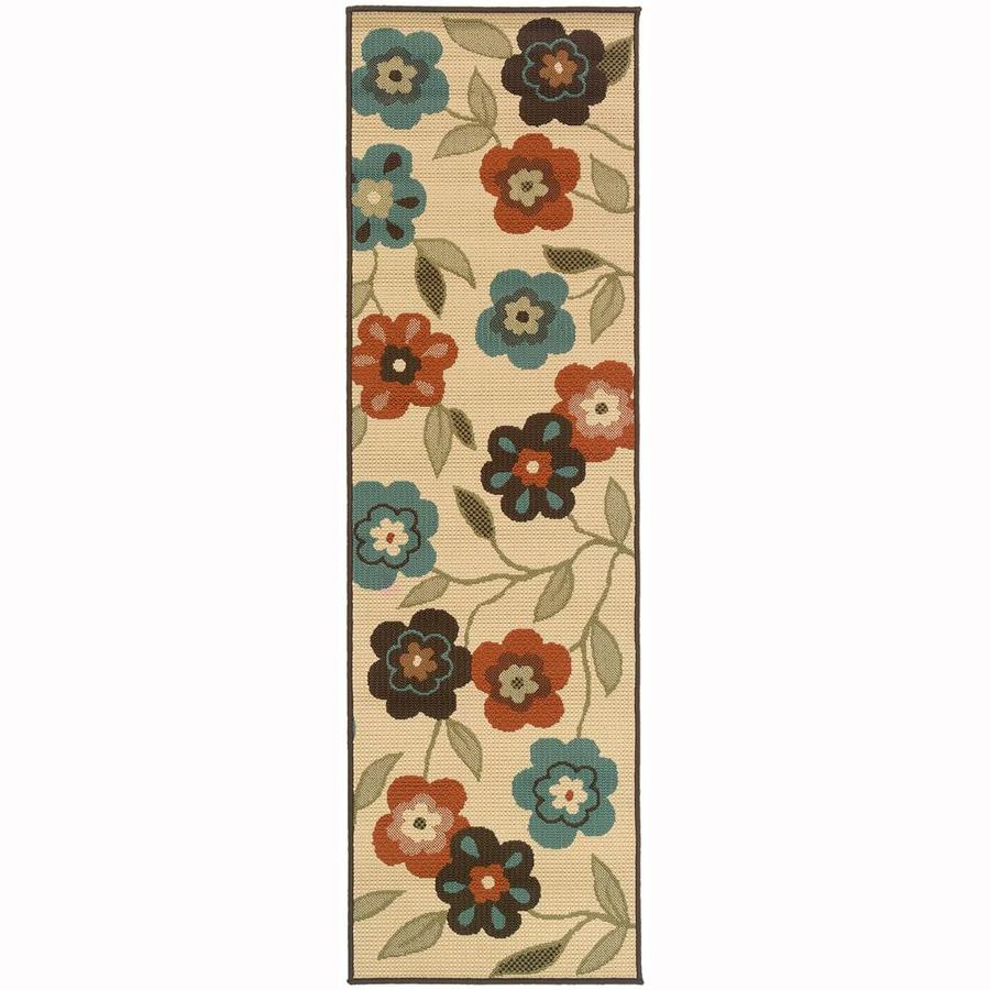 Archer Lane Cale Ivory Rectangular Indoor/Outdoor Machine-Made Runner (Common: 2 x 8; Actual: 2.25-ft W x 7.5-ft L)