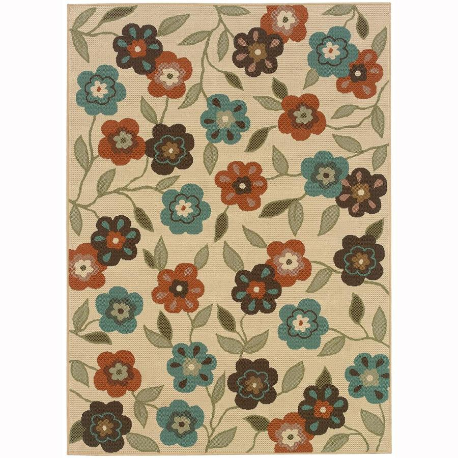 Archer Lane Cale Ivory Rectangular Indoor/Outdoor Area Rug (Common: 5 x 8; Actual: 5.25-ft W x 7.5-ft L)