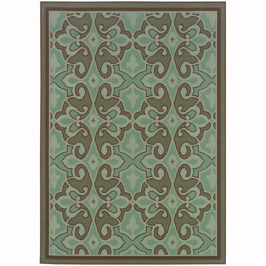Archer Lane Darien Blue Rectangular Indoor/Outdoor Machine-Made Area Rug (Common: 5 x 8; Actual: 5.25-ft W x 7.5-ft L)