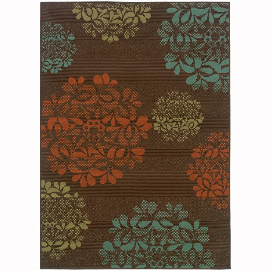 Archer Lane Edmonson Brown Indoor/Outdoor Area Rug (Common: 4 x 6; Actual: 3.58-ft W x 5.5-ft L)