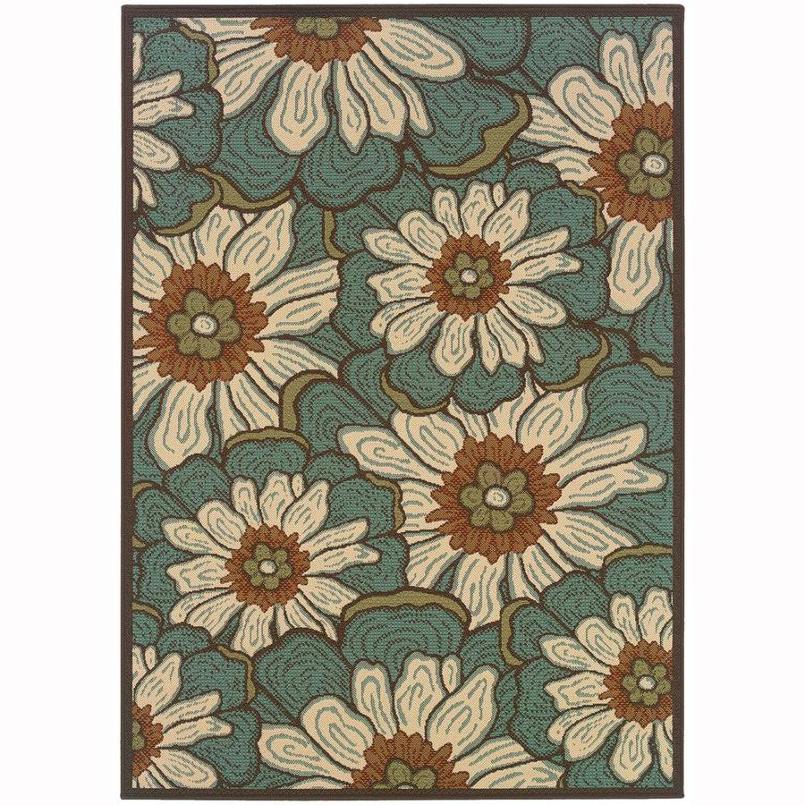 Archer Lane Farrington Blue Rectangular Indoor/Outdoor Machine-Made Area Rug (Common: 9 x 13; Actual: 8.5-ft W x 13-ft L)