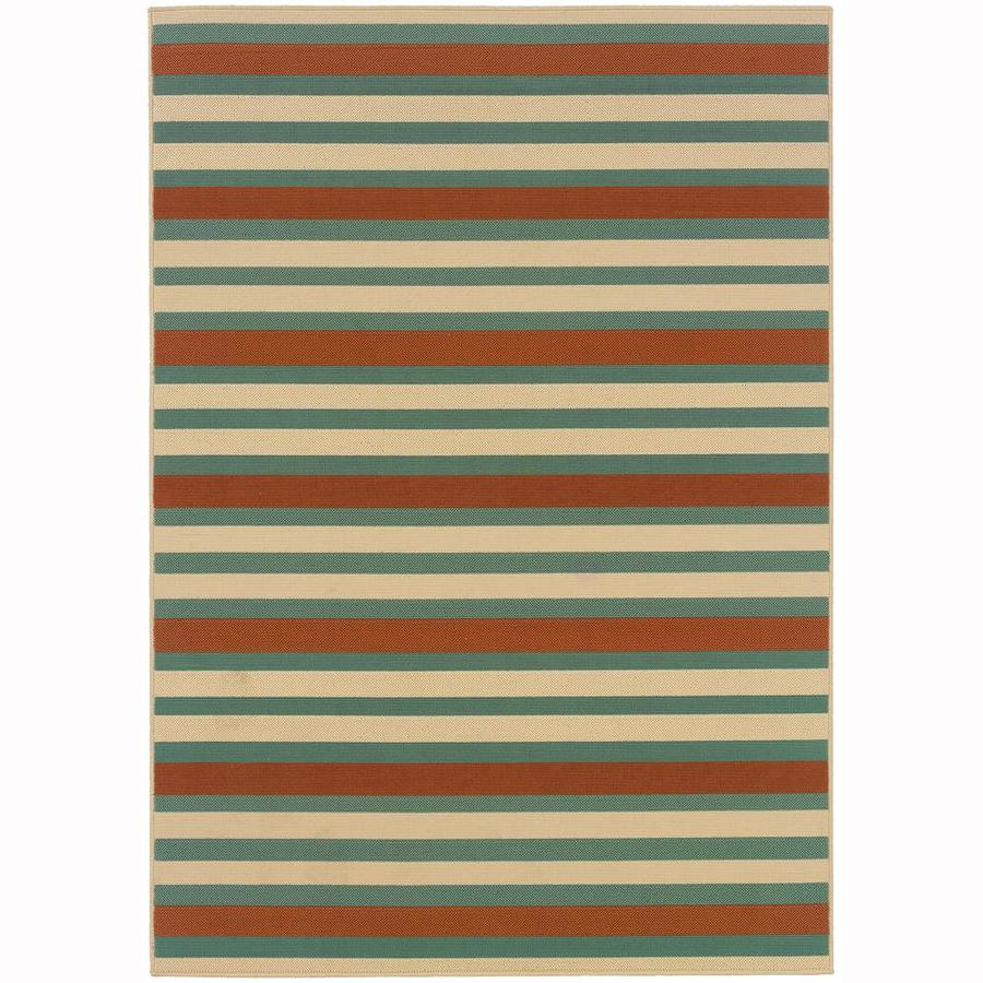Archer Lane Hallard Blue Rectangular Indoor/Outdoor Machine-Made Area Rug (Common: 4 x 6; Actual: 3.58-ft W x 5.5-ft L)