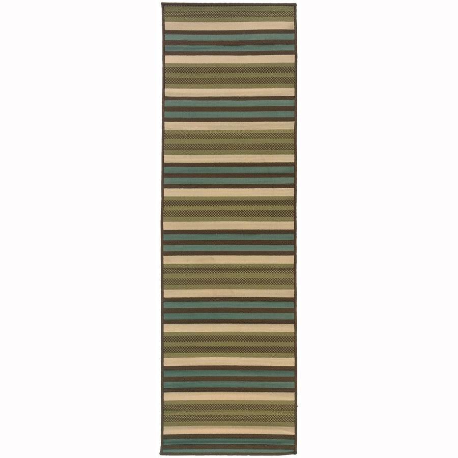 Archer Lane Hallard Green Rectangular Indoor/Outdoor Machine-Made Runner (Common: 2 x 8; Actual: 2.25-ft W x 7.5-ft L)
