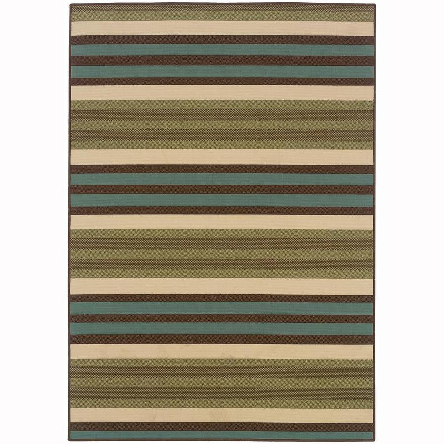 Archer Lane Hallard Green Rectangular Indoor/Outdoor Machine-Made Area Rug (Common: 5 X 8; Actual: 5.25-ft W x 7.5-ft L)