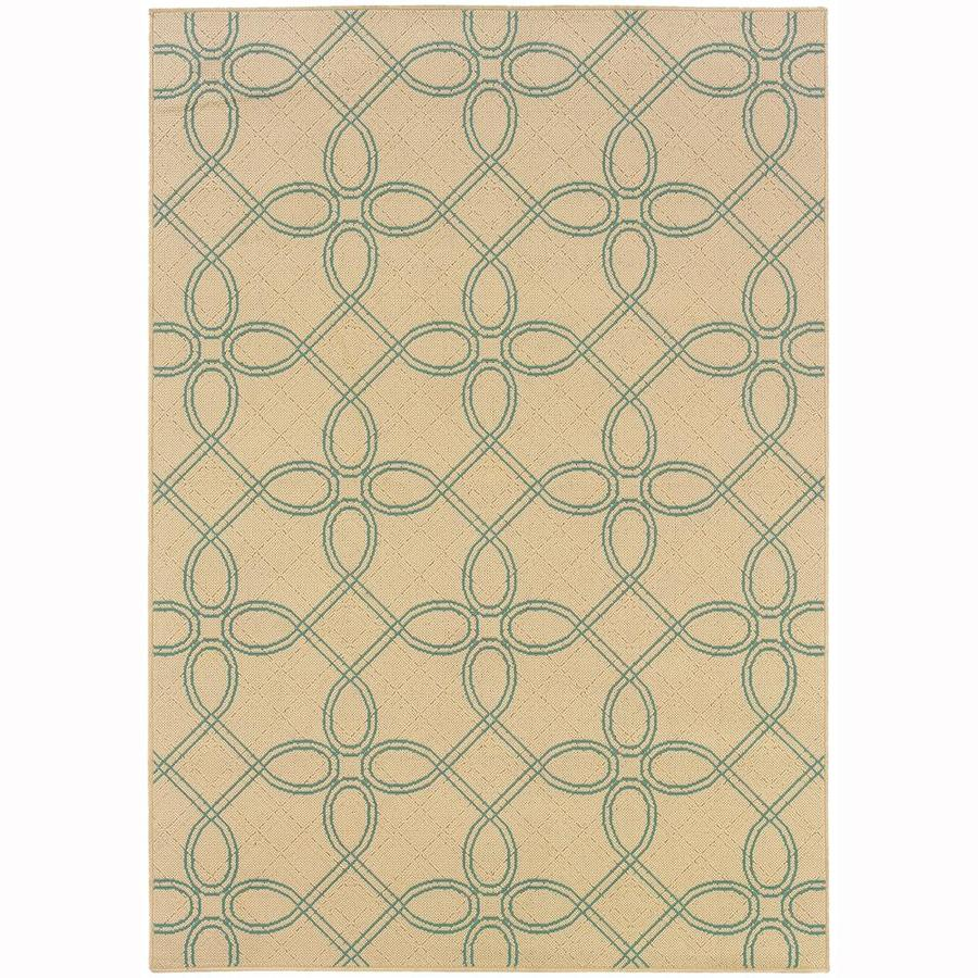 Archer Lane Ingram Ivory Rectangular Indoor/Outdoor Machine-Made Area Rug (Common: 4 x 6; Actual: 3.58-ft W x 5.5-ft L)