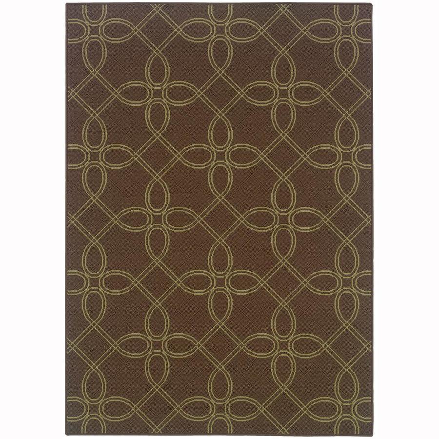 Archer Lane Ingram Brown Rectangular Indoor/Outdoor Machine-Made Area Rug (Common: 4 x 6; Actual: 3.58-ft W x 5.5-ft L)