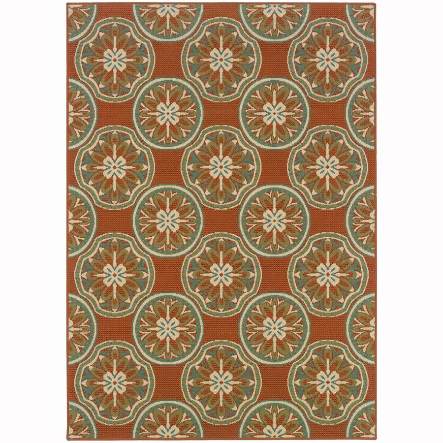 Archer Lane Keeler Rust Rectangular Indoor/Outdoor Machine-Made Area Rug (Common: 4 x 6; Actual: 3.58-ft W x 5.5-ft L)