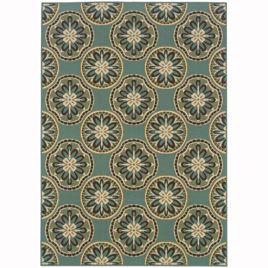 Archer Lane Keeler Blue Rectangular Indoor/Outdoor Machine-Made Area Rug (Common: 7 x 10; Actual: 6.58-ft W x 9.5-ft L)