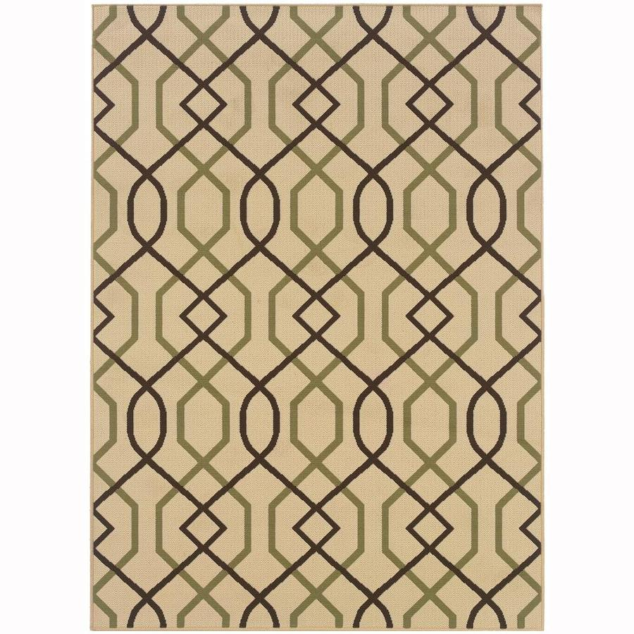 Archer Lane Maddock Ivory Rectangular Indoor/Outdoor Machine-Made Area Rug (Common: 4 x 6; Actual: 3.58-ft W x 5.5-ft L)