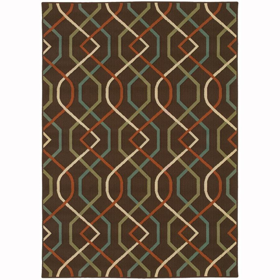 Archer Lane Maddock Brown Rectangular Indoor/Outdoor Machine-Made Area Rug (Common: 7 x 10; Actual: 6.58-ft W x 9.5-ft L)