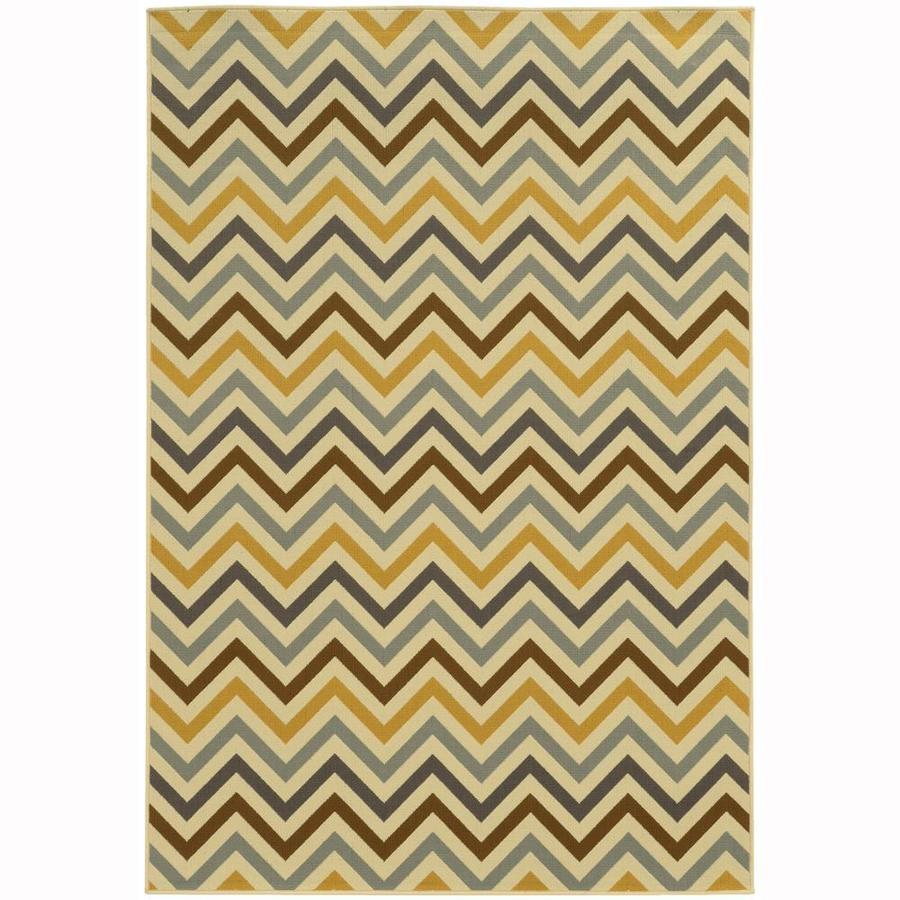 Archer Lane Bancroft Ivory Rectangular Indoor/Outdoor Machine-Made Area Rug (Common: 4 x 6; Actual: 3.58-ft W x 5.5-ft L)