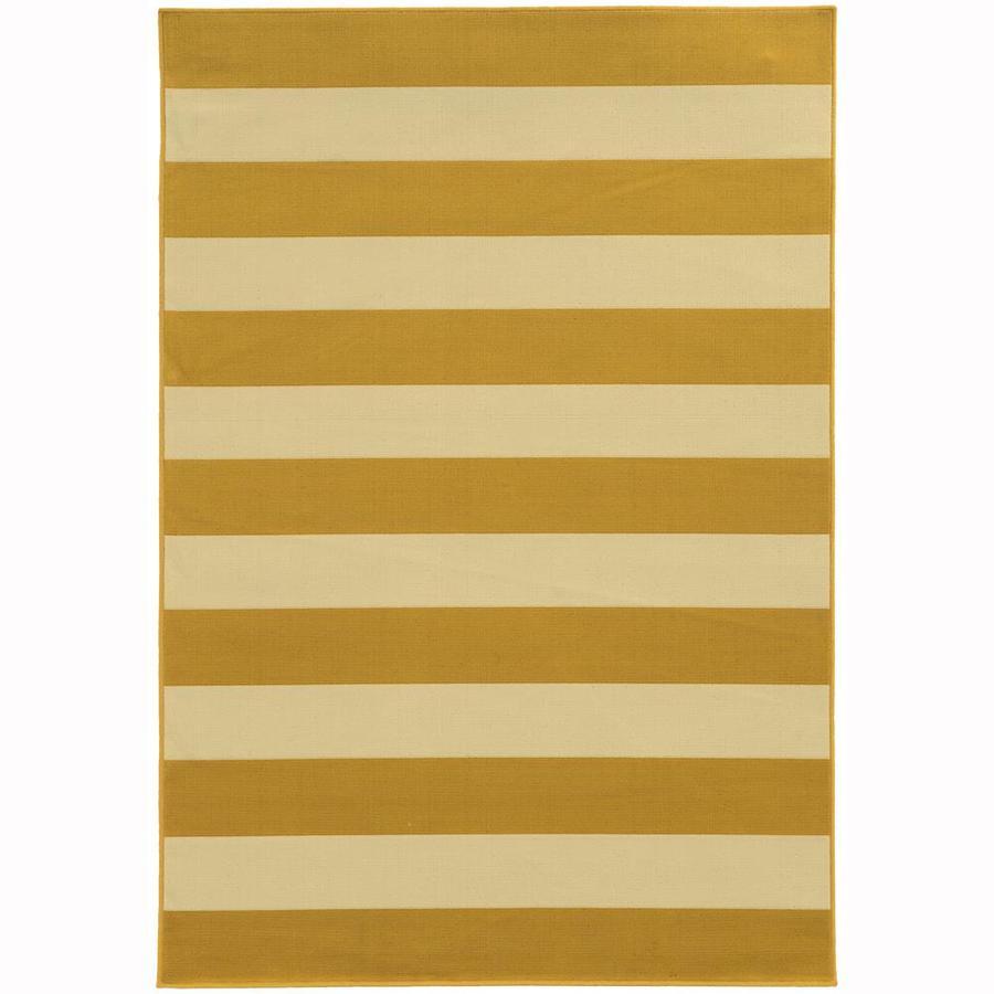 Archer Lane Callan Gold Rectangular Indoor/Outdoor Machine-Made Area Rug (Common: 4 x 6; Actual: 3.58-ft W x 5.5-ft L)