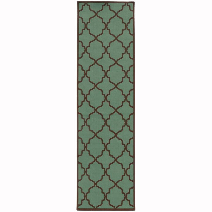 Archer Lane Dartmouth Seaglass Rectangular Indoor/Outdoor Machine-Made Runner (Common: 2 x 8; Actual: 2.25-ft W x 7.5-ft L)