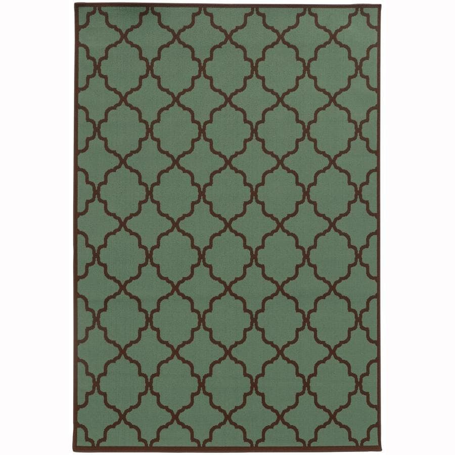 Archer Lane Dartmouth Seaglass Rectangular Indoor/Outdoor Machine-Made Area Rug (Common: 4 x 6; Actual: 3.58-ft W x 5.5-ft L)