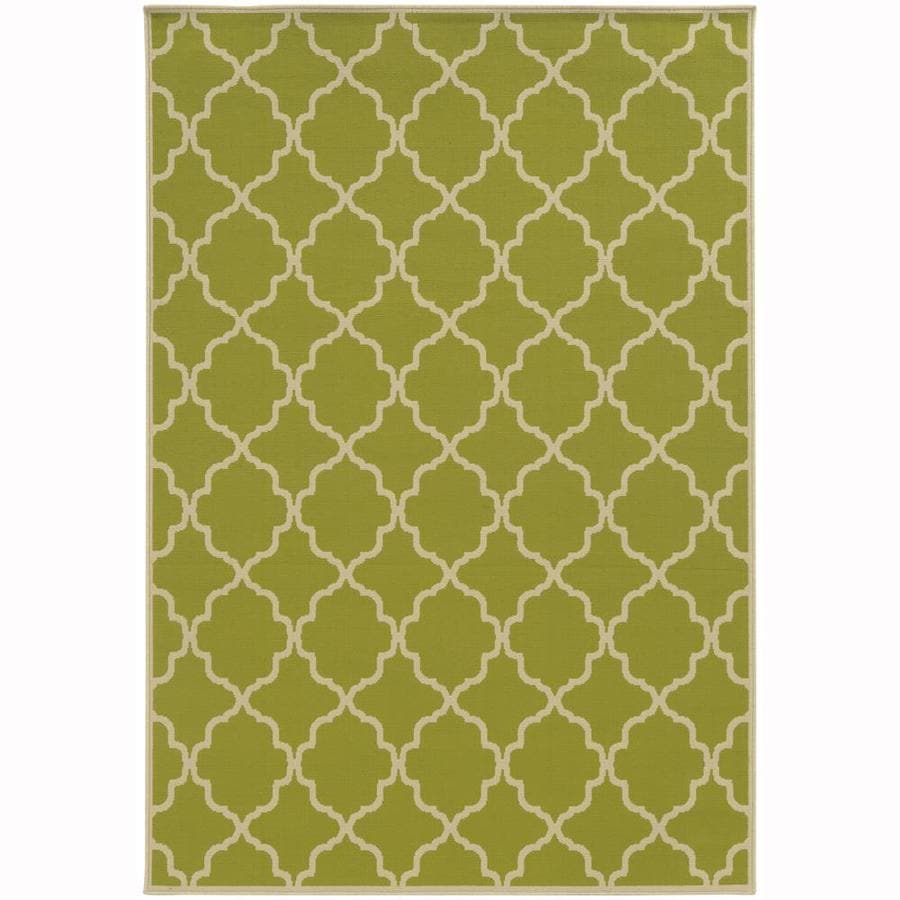 Archer Lane Dartmouth Lime Rectangular Indoor/Outdoor Machine-Made Area Rug (Common: 5 x 8; Actual: 5.25-ft W x 7.5-ft L)