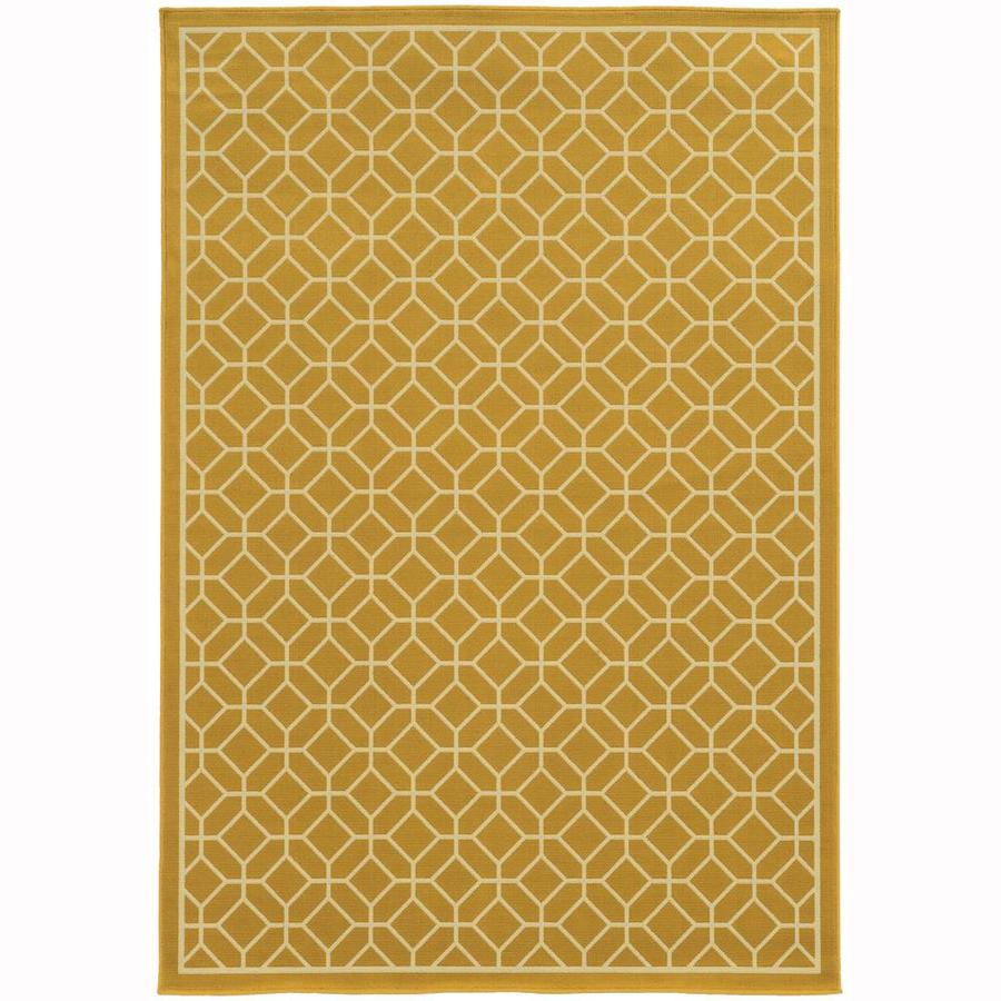 Archer Lane Elderberry Gold Rectangular Indoor/Outdoor Machine-Made Area Rug (Common: 9 x 13; Actual: 8.5-ft W x 13-ft L)
