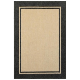 Style Selections Neutral Border 8 X 10 Neutral Indoor Outdoor Border Coastal Area Rug In The Rugs Department At Lowes Com