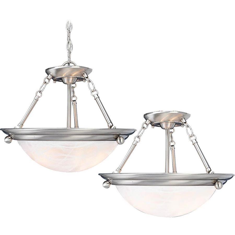 Karcich 28-in W Brushed Nickel Alabaster Glass Semi-Flush Mount Light