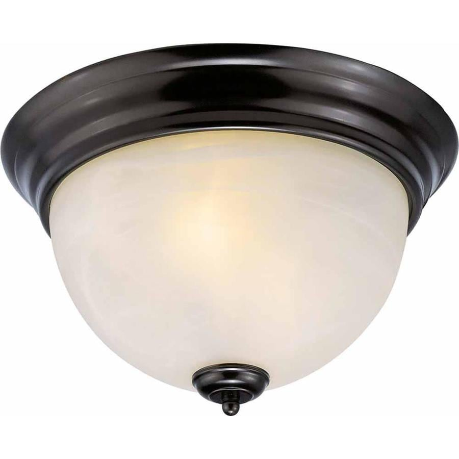 Hurlock 11-in W Antique Bronze Alabaster Glass Semi-Flush Mount Light