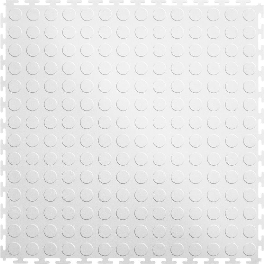 Perfection Floor Tile 8-Piece 20.5-in x 20.5-in White Raised Coin Garage Floor Tile