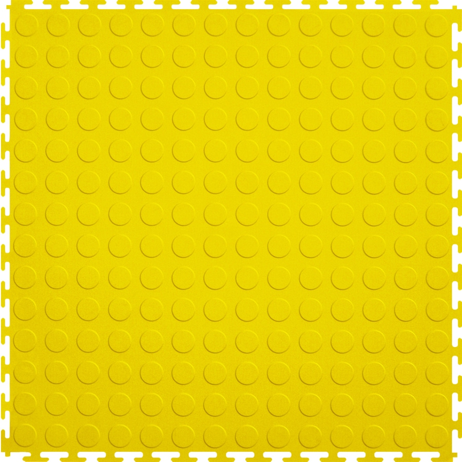 Shop garage floor tile at lowes perfection floor tile 8 piece 205 in x 205 in yellow raised coin dailygadgetfo Choice Image