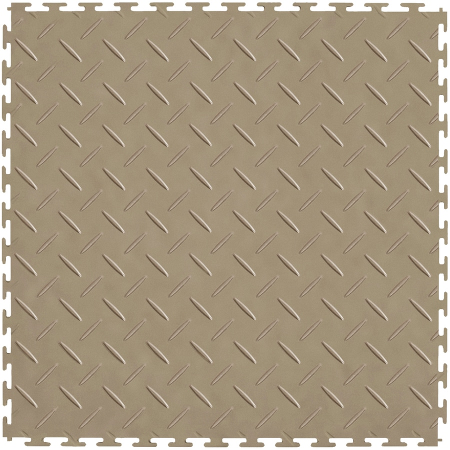 Perfection Floor Tile 8-Piece 20.5-in x 20.5-in Beige Diamond Plate Garage Floor Tile