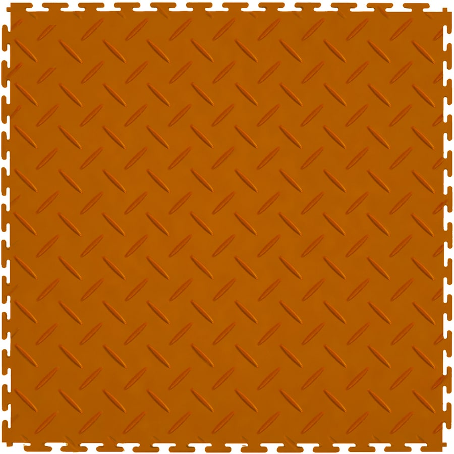 Perfection Floor Tile 8-Piece 20.5-in x 20.5-in Orange Diamond Plate Garage Floor Tile