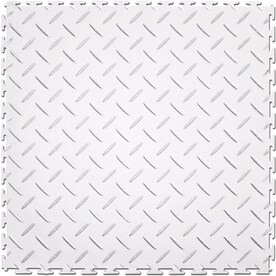 Perfection Floor Tile 8 Piece 20 5 In X White Diamond Plate