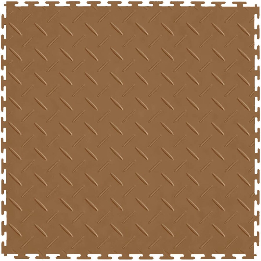 Perfection Floor Tile 8-Piece 20.5-in x 20.5-in Tan Diamond Plate Garage Floor Tile