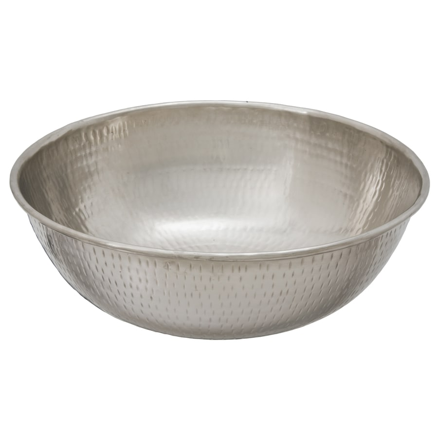 SINKOLOGY Bohr Hammered Nickel Vessel Round Bathroom Sink