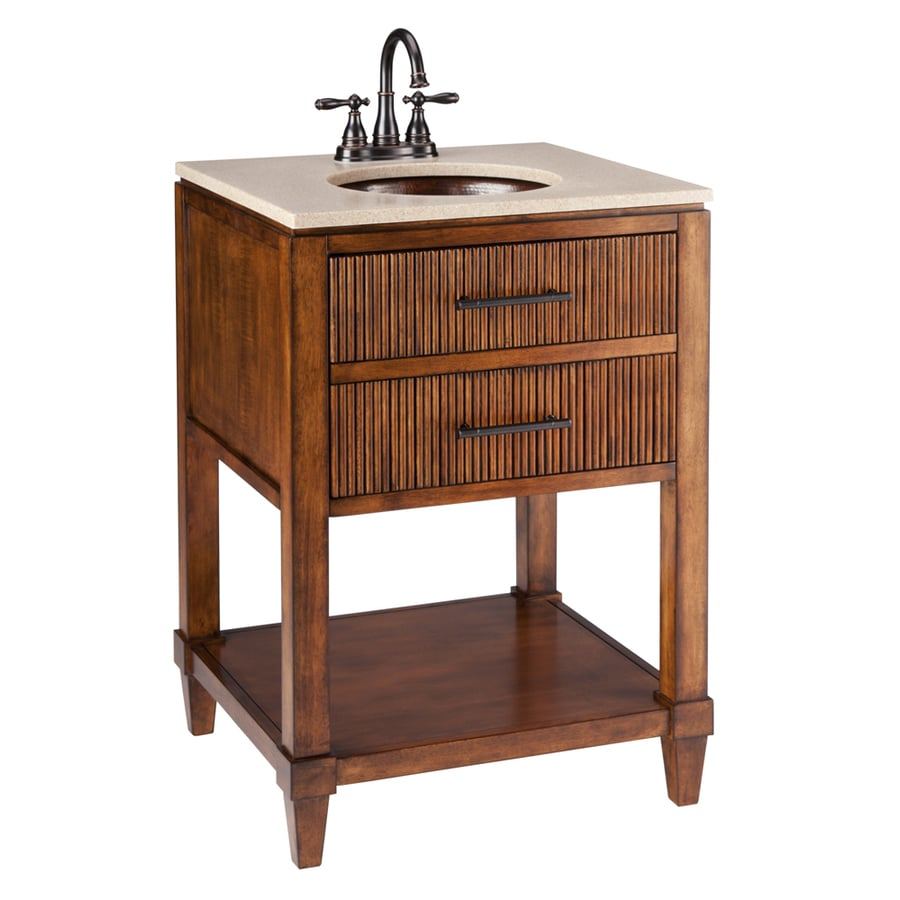 Thompson Traders Renovations Espresso Undermount Single Sink Asian Hardwood Bathroom  Vanity With Cultured Marble Top (