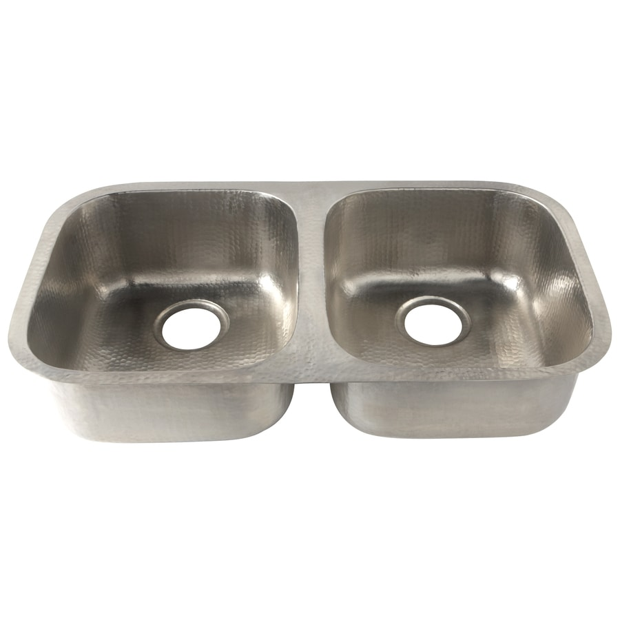 Renovations By Thompson Traders 18.5 In X 32.5 In Hammered Nickel  Double Basin