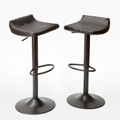 Rst Brands Deco Set Of 2 Wicker Metal Swivel Bar Stool Chair
