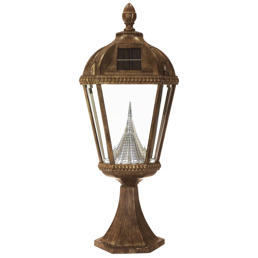 Gama Sonic Royal 23-in H Weathered Bronze Solar Integrated Complete Pier-Mounted Light