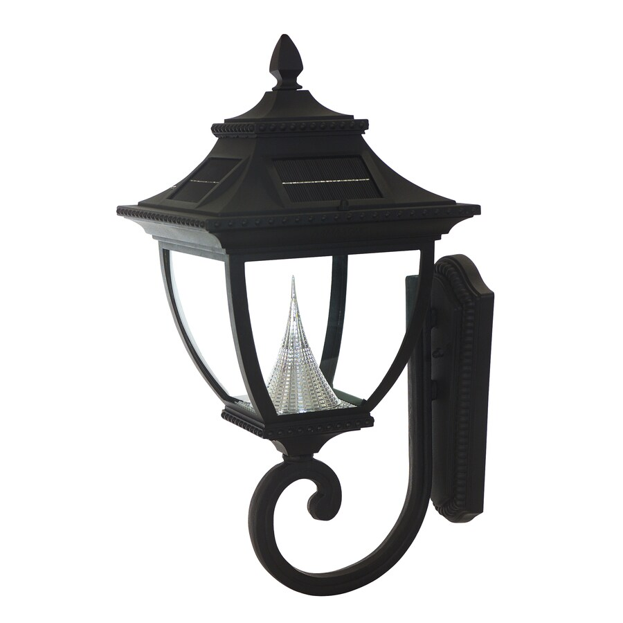 Gama Sonic Pagoda 24-in H Black Solar LED Outdoor Wall Light