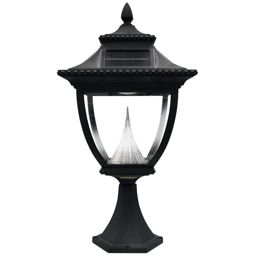 Gama Sonic Pagoda 23-in H Black Solar Integrated Complete Pier-Mounted Light